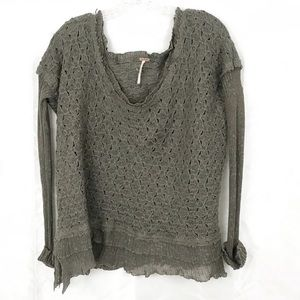 Free People Large Olive Green Sweater
